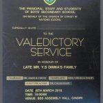 Invitation: Valedictory Service (Y.S Dimka)